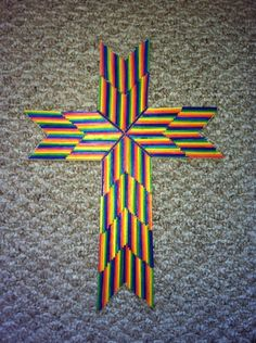 Match Stick Cross Craft- Rainbow Style. :) You can also make it with burnt match sticks.