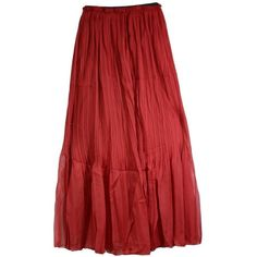 AM CLOTHES Womens Tall Waist Double-layer Chiffon Long Skirts (B-DATE... ($11) ❤ liked on Polyvore featuring skirts, red chiffon maxi skirt, chiffon skirt, red skirt, layered maxi skirt and chiffon maxi skirt