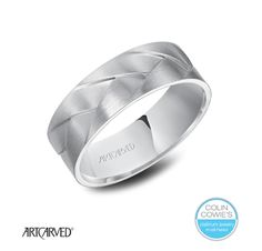 A Colin Cowie platinum must-have! ArtCarved Platinum Woven Men's wedding band with satin finish