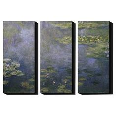 "Artist-grade canvas triptych reproduction of Water Lilies by Claude Monet.  Product: Set of 3 wall artConstruction Material: Cotton canvas and woodFeatures:  Printed with the highest quality pigment inksUV protective coatingArt by Claude Monet Dimensions: 27.5"" H x 12"" W x 1.5"" D eachCleaning and Care: Clean with water and damp cloth"
