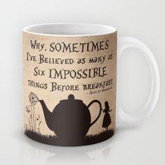 "Alice In Wonderland Mug Alice In Wonderland Quote Mug ""Sometimes I've Believed"" 11oz. or 15oz. Ceramic Coffee Mug Tea Mug Gift Coffee Lover"