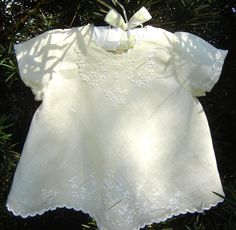 Linen Diaper Shirt with surface embroidery, drawn thread work, cutwork scallops, French seams, every stitch by hand