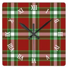#classy - #Red Green White Cool Red Lumberjack Plaid Pattern Square Wall Clock