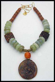 JADE - Magnificent Jade - Handcarved Antiqued Bone and Horn - Handcarved Jade Pendant Necklace by sandrawebsterjewelry on Etsy