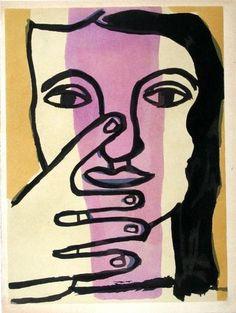 "Fernand Leger-Fernand Leger pochoir ""Tete de femme"". Limited Edition Print (Lithograph, Serigraph, Stencil)"