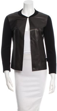 Moncler Leather-Trimmed Cardigan Moncler, Cardigans, Sweaters For Women, Blazer, Stylish, Leather, Jackets, Tops, Fashion