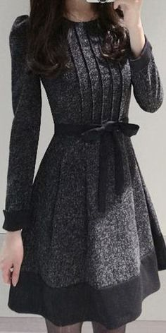 Dress winter Elegant Jewel Neck Long Sleeve Color Block Worsted Dress For Women . Elegant Jewel Neck Long Sleeve Color Block Worsted Dress For Women Mode Outfits, Dress Outfits, Fashion Dresses, Dress Up, Dress Long, Dress Casual, Shirt Dress, Gray Dress, Fashion Clothes