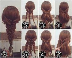 """ถูกใจ 332 คน, ความคิดเห็น 1 รายการ - nest hairsalon (@nest_hairsalon) บน Instagram: """"【再投稿】 先ほどの投稿スタイルの作り方です! 三つ編みアレンジ ①両サイドの髪を後ろで結びます。 ② 耳の後ろの髪を両側からとり… ③ 後ろで結びます。 ④ それをくるりんぱします。 ⑤…"""""""