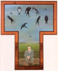 Artist, Kit Williams. Watching the swallows.