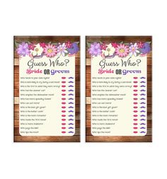 Guess Who Shower Game Bridal Shower Game Purple Pink