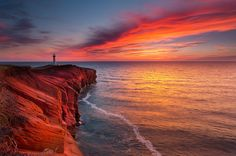 Sunset at Borgot Lighthouse, Magdalen Islands, Province of Quebec, Canada. Photo by Mathieu Dupuis Beautiful Sunset, Beautiful Places, Beautiful Pictures, Beautiful Scenery, Sunrise Pictures, O Canada, Quebec City, Vacation Trips, Land Scape