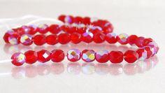 Siam Ruby AB Czech Fire Polished Czech Glass Beads by simplypie