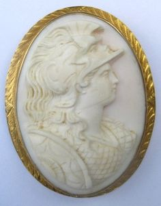 Large Athena Goddess Carved Shell Cameo Brooch Pendant 14K Gold