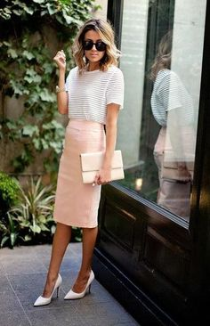 Office Outfit Casual Summer Work Outfit Idea A Pastel Pencil Skirt And Heels Inspired By Hello 66