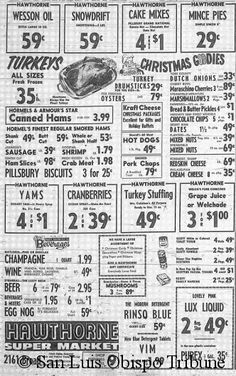 Christmas food ad from 1962 » Interesting to see how menus change over the years. What strikes you about this ad from 50 years ago? If gourmet cooking is not your thing we can have hot dogs and Kraft cheese for dinner.