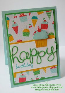 Julie Kettlewell - Stampin Up UK Independent Demonstrator - Order products Cherry on Top DSP for Coffee and Card Kids Birthday Cards, Handmade Birthday Cards, Birthday Images, Birthday Quotes, Cupcake Card, Stampin Up Catalog, Marianne Design, Scrapbook Cards, Scrapbooking