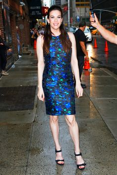 Liv Tyler What: Proenza Schouler  Where: Outside the Late Show with David Letterman  Why: A printed frock that hugs in all the right places certainly leaves us gazing.