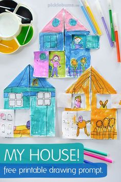 My house drawing prompt - free printable lilly's crafts craf Family Crafts, Crafts For Kids, Arts And Crafts, Drawing Prompt, Drawing Ideas, Family Theme, My Family, Ecole Art, House Drawing