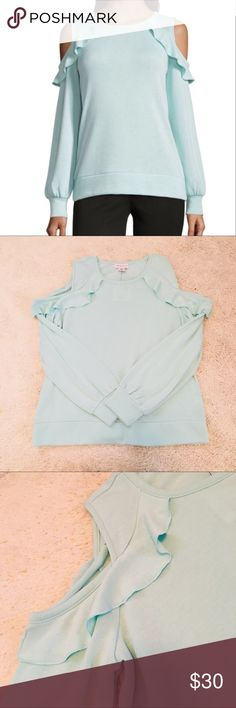 """Liz Claiborne Ruffle Cold-Shoulder Sweatshirt So soft and cozy!! 60% polyester 40% rayon. Cold-shoulder sweatshirt with ruffle detail. color is """"eggshell blue"""". Size XL. New with tags attached. Liz Claiborne Tops Sweatshirts & Hoodies"""