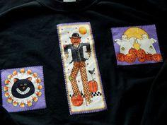 2X Halloween Autumn Sweatshirt Plus Size XXL Scarecrow Ghosts Black Cat Country #Gildan #SweatshirtCrew