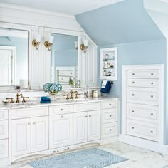 Built-in dressers make good use of low-clearance space in the eaves | Photo: Laura Moss | thisoldhouse.com