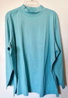 Women/'s Lands End Mock T Neck  Fleece Shirt 2X   NWT