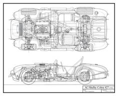 SHELBY COBRA 427 SCHEMATIC HAND DRAWN BY CAIROLI - Automotive-Art
