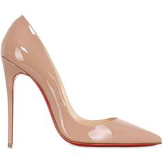 Christian Louboutin Women 120mm So Kate Patent Leather Pumps (980 BAM) ❤ liked on Polyvore featuring shoes, pumps, heels, chaussures, sapatos, nude, nude patent pumps, pointy toe pumps, patent pumps and patent leather shoes