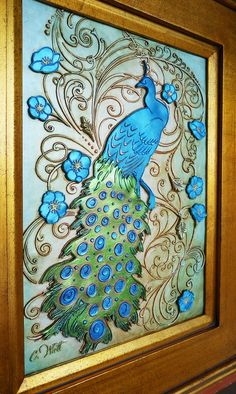 Bird Picture Peacock Feathers | Peacock Plumage - blue feather bird dimensional clay wall art ...