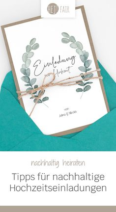 Sustainable wedding invitations: how it works - hey! FAIR- With sustainable wedding invitations you can protect the environment. Find out in our guide what options there are for sustainable wedding invitations and where you can get them. Wedding Planning Quotes, Wedding Planning Binder, Wedding Planning On A Budget, Wedding Themes, Diy Wedding, Budget Wedding, Wedding Dress, Lace Wedding, Simple Weddings
