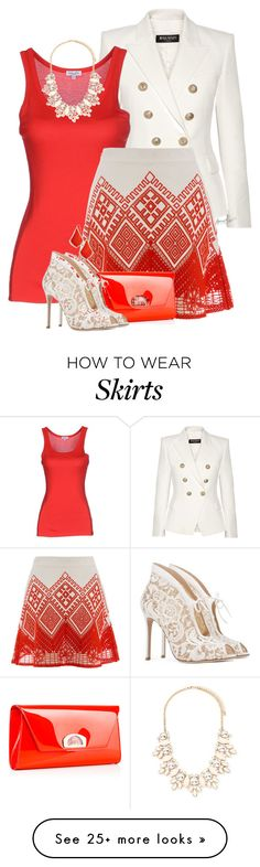 """Amalfi Skirt"" by tayswift-1d on Polyvore featuring Balmain, Splendid, Temperley London, Christian Louboutin, Gianvito Rossi, Forever 21, Kendra Scott, women's clothing, women and female"