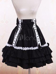 Black Cotton Pleated Lolita Skirt - Milanoo.com