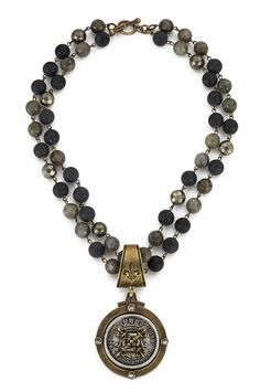 This is an update to one of our favorite styles from last Fall. It can literally go with everything, be worn up or down, with sterling or gold... edgy, sexy style. Shop it here: http://www.frenchkande.com/double-strand-midnight-mix-with-brass-wire-and-centennial-x-stack-medallion.html  #french #jewelry #woman #vintage #style #fashion #ootd #whatiwore #vsco #blog #fblogger #paris #losangeles #handmade #aboutalook #designer