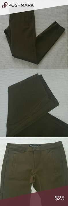Zara Trafaluc Olive Green Pants Great condition, no fading whatsoever. Viscose and Nylon blend so these have a lot of stretch to them. Zippered at the bottom, as shown.  Waist-28 Inseam-27 Front Rise-9 Zara Pants