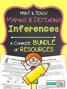 Everything you need to teach students to Make Inferences in and grade! Notes, Practice, Organizer for Independent Reading, Game, Quiz. Reading Lessons, Reading Resources, Reading Strategies, Reading Skills, Teaching Reading, Reading Comprehension, Teaching Ideas, Reading Games, Inference Activities