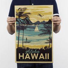 アロハハワイ/有名な観光/風景画/クラフト紙/バーのポスター/レトロポスター/装飾的な絵画51 × 35.5センチ