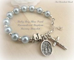 Catholic Boy Baptism Rosary Bracelet with Swarovski Light Blue Pearl Silver and Guardian Angel - Name Baby Boy - Ideas of Name Baby Boy - Baptism Favors, Baptism Party, Baptism Ideas, Christening Favors, Baptism Gifts, Ideas Bautizo, Catholic Baptism, Nun Catholic, Our Father Prayer