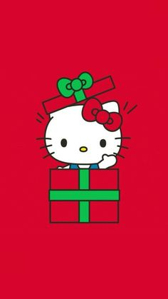 Hello Kitty Rooms, Hello Kitty Art, Hello Kitty Pictures, Sanrio Hello Kitty, Hello Kitty Christmas Tree, Christmas Cats, Christmas Themes, Xmas, Hello Kitty Backgrounds