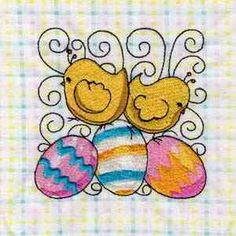 This free embroidery design is an Easter swirl block. Thanks to Designs by Sick for posting it.