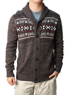 RetroFit Men's Native Knit Button Down Cardigan Sweater -- Awesome products selected by Anna Churchill
