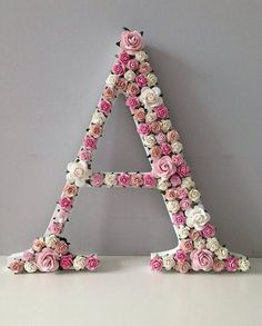 Items similar to Floral Letter Custom Made for Nursery Wall, Wooden Flower Letter, Baby Christening Decor, Baby Shower Decor, Baby Monogram on Etsy Alphabet Letters Design, Diy Letters, Flower Letters, Nursery Letters, Name Decorations, Baby Shower Decorations, Birthday Decorations, Stylish Alphabets, Diy And Crafts