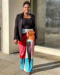 Blazer worn with multicoloured ed wide leg pants | For more style inspiration visit 40plusstyle.com