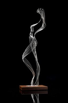 Stainless steel, with wood base Figurative Abstract Modern or Contemporary #sculpture by #sculptor Martin Debenham titled: 'Improvised figure' #art