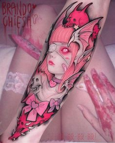 "Brando Chiesa (@brandochiesa) on Instagram: ""super sonico kill mode #pastel gore #kawaii monsters #anime inspired tattoo"