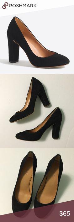 """J. Crew • Black suede block heels J. Crew Factory black suede block heels. Size 6. Like new. No wear, just a minor closet scuff. Heel height 3.75"""". J. Crew Shoes Heels"""