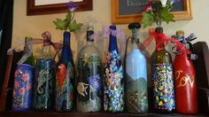 Wine Bottle Crafts - hand painted bottles and other canvas art available msg me here or see more Facebook Celise Paine Great for #weddings, centerpieces, holidays, gifts, #Birthday, #Anniversary, #Christmas.  Custom designs available with your pictures and ideas. https://www.facebook.com/CelisesPaintings