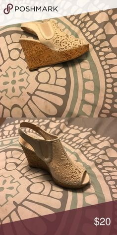White wedge shoes. Perfect for Easter. White Lacey wedges. Worn once for a wedding. Shoes Wedges