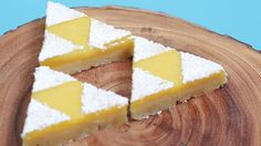 Here are the Triforce Lemon Bars we made on Nerdy Nummies from scratch! So yummy! By Rosanna P. | #Zelda #Triforce #food #geek