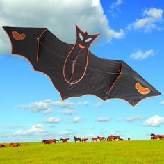 210CM High Quality Bat Kite Easy Control Handle Line Children Chiroptera Kites Nylon String Outdoor Sport Toys