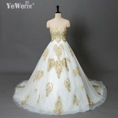 YeWen Wedding Gowns vintage beach plus size Gold white Sweetheart Lace vestidos de novia 2016 wedding dresses robe de mariage-in Wedding Dresses from Weddings & Events on Aliexpress.com   Alibaba Group